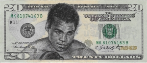 Ali, pencil on US currency