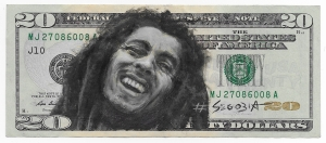 Bob Marley, Acrylic on US currency