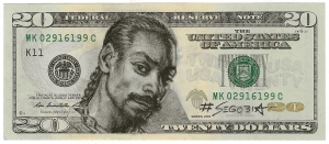 Snoop Dog, pencil on US currency